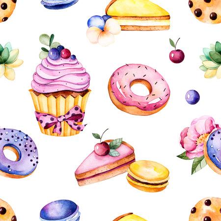 Patrón sin fisuras con flores de peonía, hojas, planta suculenta, sabrosa magdalena, flor del pensamiento, macarrones, rosquillas, galletas, pasteles de queso de limón y cereza, berries.Sweet verano collection.Perfect para el papel pintado, boda Foto de archivo