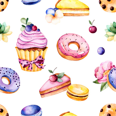 Seamless pattern with peony flower, leaves, plant succulent, tasty cupcake, pansy flower, macaroons, donuts, cookies, lemon and cherry cheesecakes, berries.Sweet Summer collection.Perfect for wallpaper, wedding Stock Photo