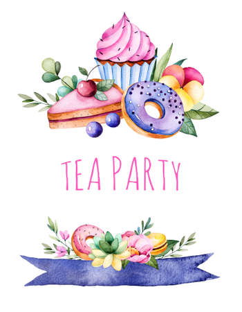 wedding clipart: Beautiful watercolor invitation with cupcakes tasty, succulent plant, leaves, branches, macaroons, pansy flower, ribbons, donuts, cherry cheescakes.Can be used as a greeting card, wedding invitation, tea party