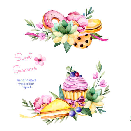 wedding cake: Sweet summer collection with peony, leaves, succulent plant, branches, donuts, cookies, macaroons, lemon cheesecake and cupcake.2 beautiful bouquet for your design own, wedding, invitations, menu, blogs, graphic