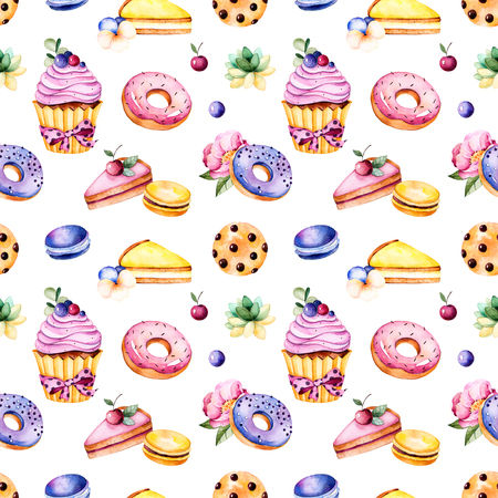 Seamless pattern with peony flower, leaves, plant succulent, tasty cupcake, pansy flower, macaroons, donuts, cookies, lemon and cherry cheesecakes, berries.Sweet Summer collection.Perfect for wallpaper, wedding Banco de Imagens