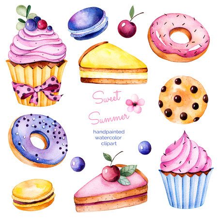 Sweet summer collection with donuts, berries, lemon and cherry cheesecake, cherry, macaroons, tasty cupcakes, cookies.Colorful collection with 13 watercolor elements.Lovely sweet collection for you create Stock Photo