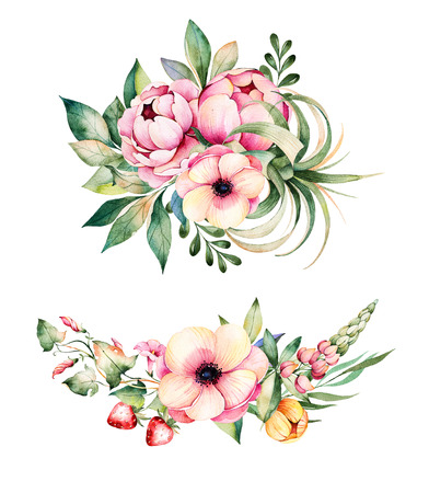raspberry: Colorful floral collection with flower, peonies, leaves, field bindweed, branches, lupine, plant air, strawberry and more.2 beautiful bouquet for your own design.Perfect for wedding invitations, blogs, patterns
