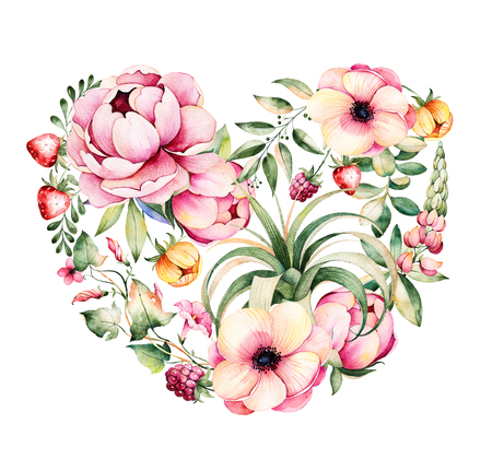 Beautiful template for card.Perfect Happy Valentines Day.Handpainted illustration.Watercolor heart with peony, field bindweed, branches, lupine, plant air, strawberry.Hand drawn illustration.Lovely Bouquet