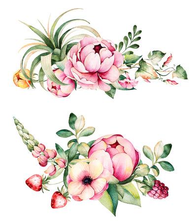 Bunte Blumensammlung Mit Blumen, Pfingstrosen, Blätter, Ackerwinde ...