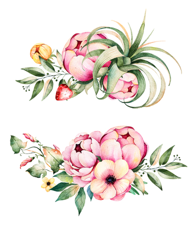 wedding bouquet: Colorful floral collection with flower, peonies, leaves, branches, plant air, field bindweed, strawberry and more.2 beautiful bouquet for your own design.Perfect for wedding invitations, blog, patterns, quotes