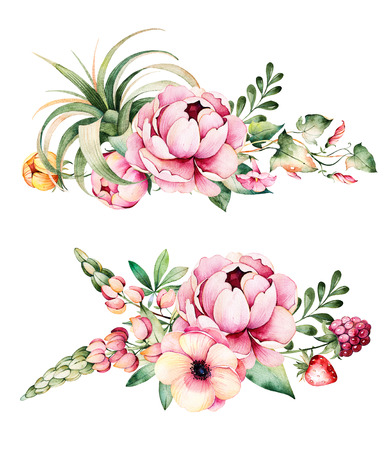 bindweed: Colorful floral collection with flower, peonies, leaves, field bindweed, branches, lupine, plant air, strawberry and more.2 beautiful bouquet for your own design.Perfect for wedding invitations, blogs, patterns