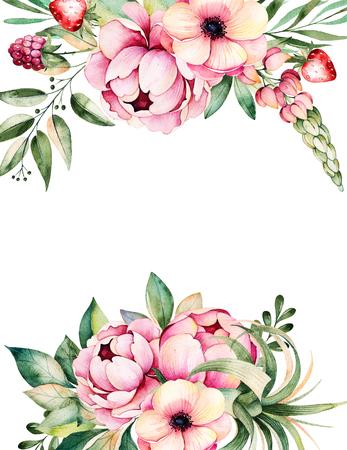 Tarjeta hermosa de la acuarela con el espacio para el texto con flores, peonías, hojas, ramas, altramuz, aire de la planta, fresa, pintado a mano illustration.Can puede utilizar como una tarjeta de felicitación, invitación de la boda, las letras, los blogs