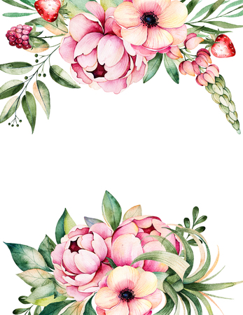 Schöne Aquarell-Karte mit Platz für Text mit Blumen, Pfingstrosen, Blätter, Zweige, Lupine, Pflanze Luft, Erdbeere, Handpainted illustration.Can als Grußkarte, Hochzeitseinladung verwendet werden, Beschriftung, Blogs