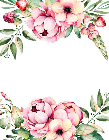 Beautiful watercolor card with space for text with flower, peonies, leaves, branches, lupine, plant air, strawberry, Handpainted illustration.Can be used as a greeting card, wedding invitation, lettering, blogs Stockfoto