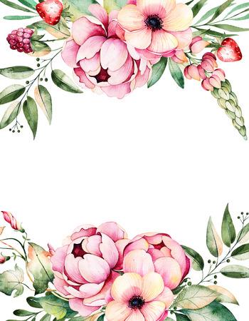 Mooie aquarel kaart met ruimte voor tekst met bloem, pioenen, bladeren, takken, lupine, perslucht, aardbei, illustration.Can handbeschilderde gebruikt worden als een wenskaart, bruiloft uitnodiging, belettering, blogs