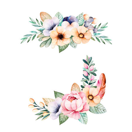 watercolor paper: Colorful floral collection with flower, roses, leaves, pansy flowers, branches, feathers and more.2 beautiful bouquet for your own design.Perfect for wedding invitations, blogs, patterns, template, print etc.