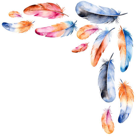 pen paper: Beautiful watercolor frame border with hand drawn feather and the place for your text.Handpainted illustration.Can be used for greeting card, wedding invitation card template, lettering etc.