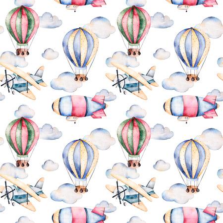 Naadloos patroon met luchtballons, luchtschip, wolken en het vliegtuig in pastel colors.Watercolor luchtballons prachtig ingericht op een witte achtergrond en behang voor --Andere aircrafts.Perfect