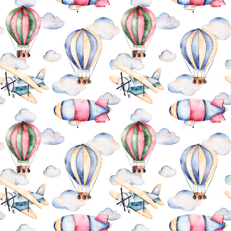 Seamless pattern with air balloons, airship, clouds and the plane in pastel colors.Watercolor air balloons beautifully decorated on white background and wallpaper for --other aircrafts.Perfect Archivio Fotografico
