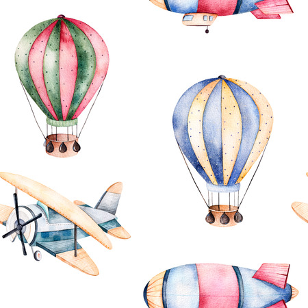 Seamless pattern with air balloons, airship and the plane in pastel colors.Watercolor air balloons on white background beautifully decorated and aircrafts.Perfect --other for wallpaper, texture kids, gift