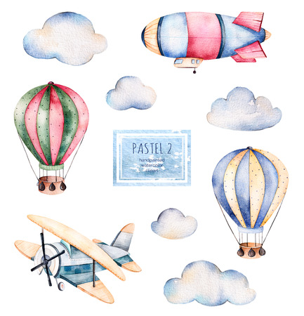 Watercolor collection with air balloons, clouds, and the airship flat in pastel colours.Handpainted air balloons beautifully decorated on white background, pastel clouds and aircrafts --other .Pastel set