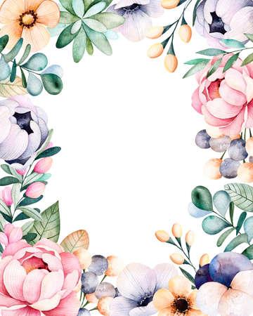 borde de flores: frontera del marco hermoso de la acuarela con las rosas, flores, hojas, planta suculenta, ramas, hojas de eucalipto, flor del pensamiento .Handpainted illustration.Can ser utilizado para la tarjeta de felicitación, invitación de la boda, las letras