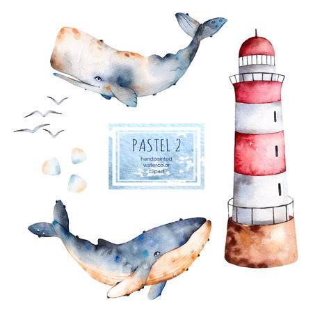 Aquarel handbeschilderde walvissen, schelpen en vuurtoren in pastel kleuren. Perfect voor uw project, textuur, blog, behang, patroon, textuur kinderen, cadeau papier, inwikkeling enz.