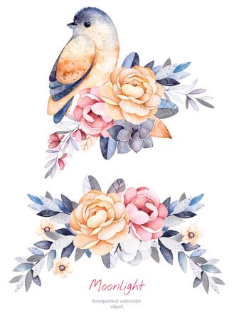 Hermosa colección de invierno con las ramas, las plantas de algodón, flores, pequeño pájaro, ramos de flores de colores para su leaves.2 invierno design.Perfect sola tarjeta de Navidad, bodas, invitaciones, tarjetas de felicitación, etc.