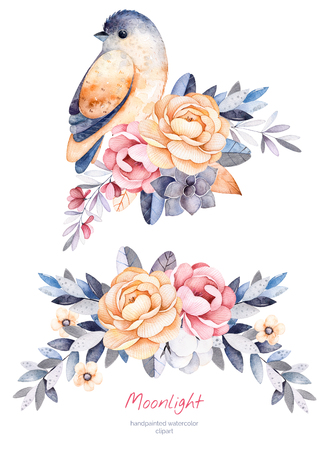 Beautiful winter collection with branches, cotton plants, flowers, little bird, colorful bouquets for your winter leaves.2 design.Perfect single card for Christmas, wedding, invitations, greeting card etc.