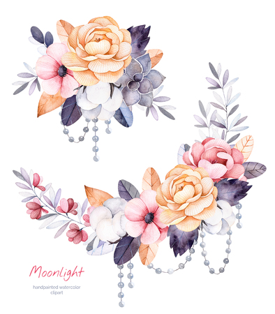 Beautiful winter collection with branches, cotton plants, flowers, strings of pearls, succulent, colorful bouquets for your winter leaves.2 design.Perfect single card for Christmas, wedding, invitations etc.