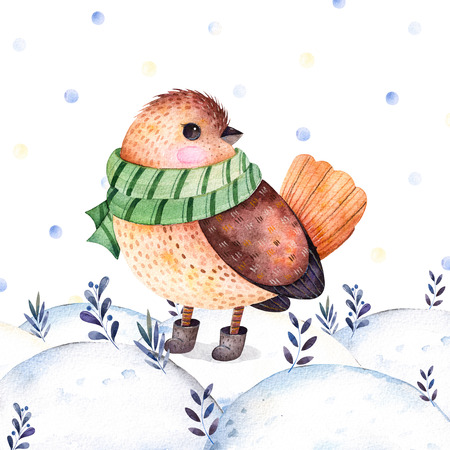 Christmas and New Year illustration collection.Watercolor handpainted with a cute bird in a green, scarf and boots on winter landscape.Chistmas postcard with bird.Perfect for Christmas invitations. Stock Photo
