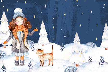alegria: Navidad y Año Nuevo ilustración collection.Watercolor pintado a mano con una linda chica en un abrigo de lana, bufanda, sombrero y su pequeño amigo-lindo paisaje con kitten.Winter tree.Dreams navidad hecho realidad