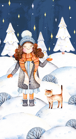 Christmas and New Year illustration collection.Watercolor handpainted with a cute girl in a wool coat, scarf, hat and her little friend-cute kitten.Winter landscape with christmas tree.Dreams come true.