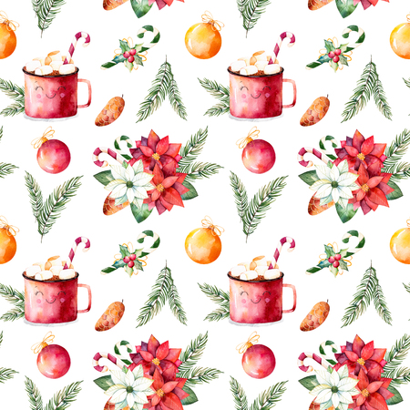 winter wallpaper: Merry Christmas and Happy New Year set.Handpainted watercolor seamless texture with winter bouquet, candy, mug of hot chocolate, pinecone, Christmas balls etc.Perfect for wallpaper, print, packaging design.