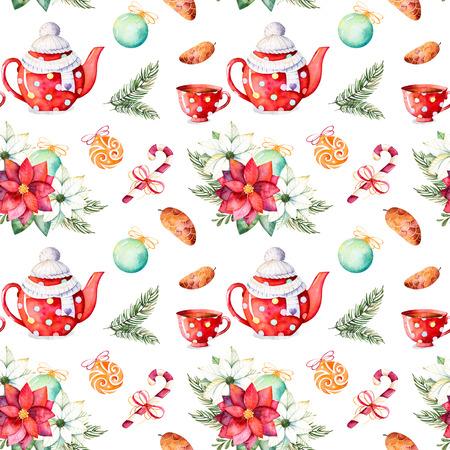 Frohe Weihnachten und Happy New Year set.Handpainted Aquarell nahtlose Textur mit Winter Bouquet, Süßigkeiten, Teekanne, Tasse Tee, Tannenzapfen, Weihnachtskugeln etc.Perfect für Tapeten, Druck, Verpackungsdesign. Standard-Bild - 69107152