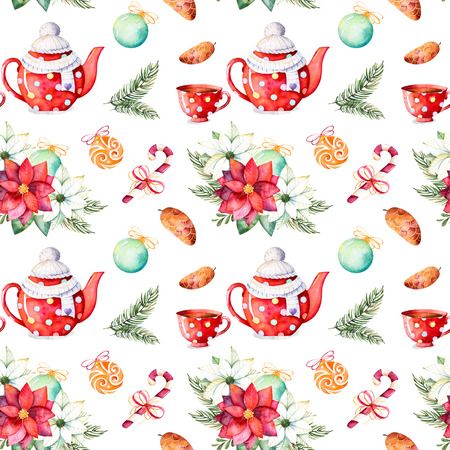 Merry Christmas and Happy New Year set.Handpainted watercolor seamless texture with winter bouquet, candy, teapot, cup of tea, pinecone, Christmas balls etc.Perfect for wallpaper, print, packaging design.