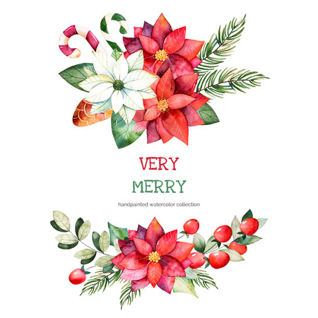 Christmas and New Year collection.2 bouquets with leaves, branches, Christmas balls, berries, holly, pinecones, poinsettia flowers.Handpainted watercolor illustration, perfect for Christmas invitations.