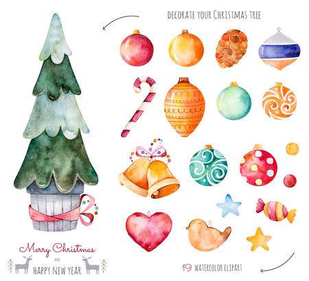 메리 크리스마스와 해피 뉴가 어 수채화 세트입니다. 장식 19 공, 사탕, 황금 종소리와 함께 귀하의 크리스마스 트리를 장식 .19 handpainted 수채화 클립 아 스톡 콘텐츠