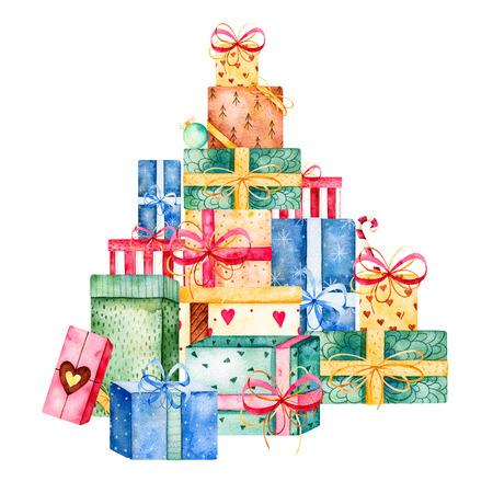 메리 크리스마스와 새 해 수채화 그들은 쌓아하고자, 다양한 선물 상자의 스택을 collection.Handpainted! 크리스마스 초대장 수채화 illustration.Perfect, 생일 초