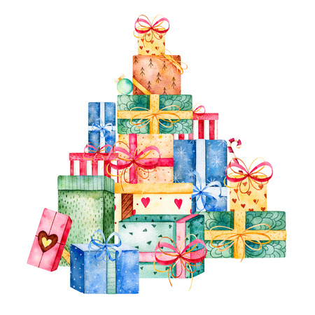 Merry Christmas and New Year watercolor collection.Handpainted a stack of gift boxes versatile, They like to be stacked! Watercolor illustration.Perfect for Christmas Invitations, Birthday Invitations Banco de Imagens - 68993472