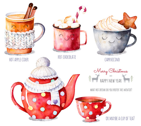 Merry Christmas and Happy New Year set. Watercolor collection with a choice of hot drinks: apple cider, tea, chocolate, watercolor cappuccino.Handpainted clipart.What hot drink do you prefer this winter? Standard-Bild