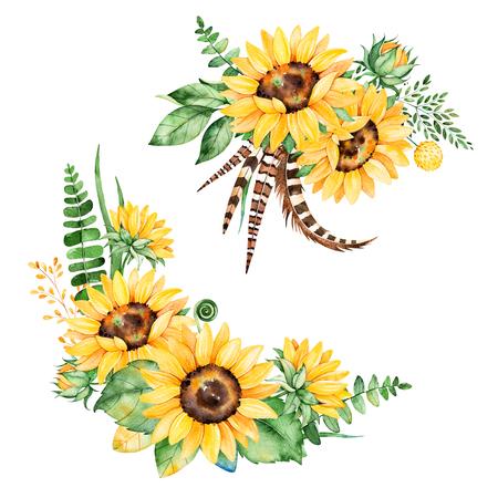 해바라기, 잎, 분기, 고 사리 잎, 수채화 깃털로 아름 다운 꽃 모음입니다 .2 lbright 부케 당신의 디자인에 대 한입니다. 완벽 한 결혼식 초대장 카드 서식