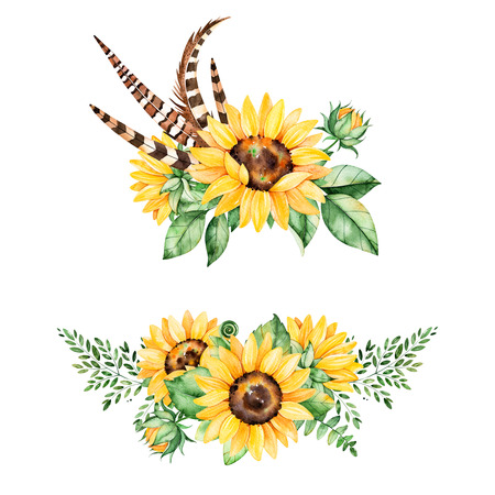 Beautiful floral collection with sunflowers, leaves, branches, fern leaves, watercolor feathers.2 lbright bouquets for your design.Perfect for wedding invitation card template, Birthday and boho style Stock fotó