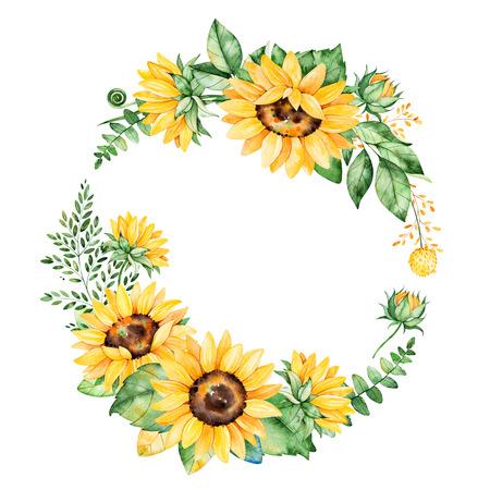 Kleurrijke bloemen krans met zonnebloemen, bladeren, gebladerte, takken, varen bladeren en plaats voor uw text..Perfect voor huwelijk, citaten, verjaardag, boho-stijl, uitnodigingen, wenskaarten, print, blogs etc. Stockfoto