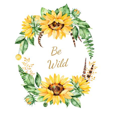 해바라기, 잎, 단풍, 분기, 깃털과 텍스트와 다채로운 꽃 템플릿 카드. 결혼식, 따옴표, 생일, boho 스타일, 초대장, 인사말 카드, 인쇄, 블로그 등에 적합