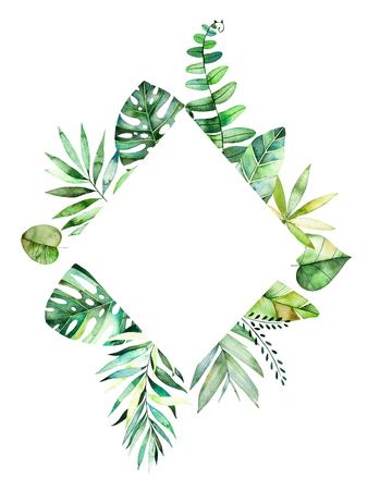 カラフルな熱帯の葉とカラフルな花の菱形フレーム。熱帯林のコレクションです。結婚式、フレーム、引用符、パターン、グリーティング カード、 写真素材