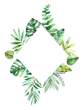Colorful floral rhombus frame with colorful tropical leaves. Tropical forest collection.Perfect for wedding, frame, quotes, pattern, greeting card, logo, invitations, lettering etc.