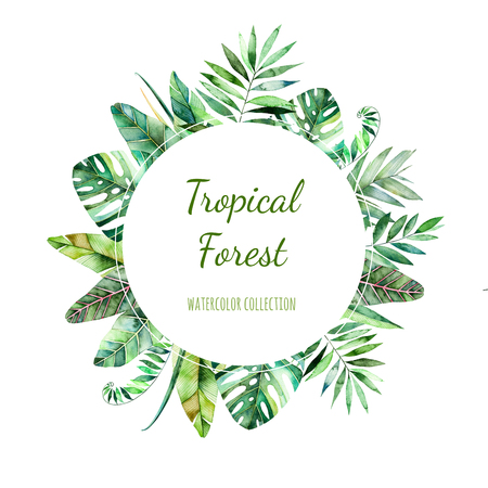 Colorful floral round frame with colorful tropical leaves. Tropical forest collection.Perfect for wedding, frame, quotes, pattern, greeting card, logo, invitations, lettering etc.