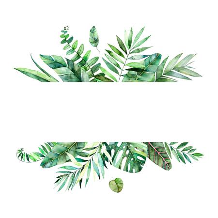 Kleurrijke bloemen frame met kleurrijke tropische bladeren. Tropisch bos collection.Perfect voor huwelijk, frame, citaten, patroon, wenskaart, logo, uitnodigingen, belettering etc. Stockfoto - 75998992