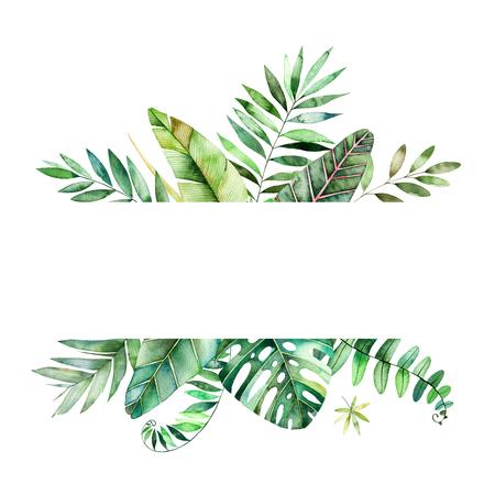 カラフルな熱帯の葉とカラフルな花のフレーム。熱帯林のコレクションです。結婚式、フレーム、引用符、パターン、グリーティング カード、ロゴ