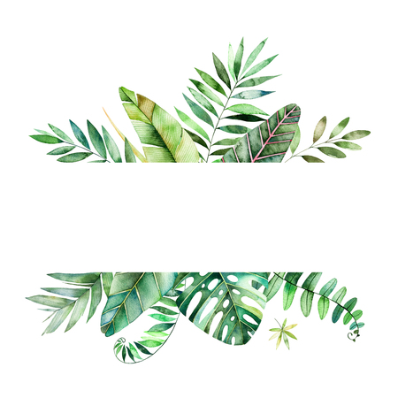 Colorful floral frame with colorful tropical leaves. Tropical forest collection.Perfect for wedding, frame, quotes, pattern, greeting card, logo, invitations, lettering etc.