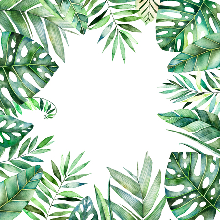 カラフルな熱帯の葉のカラフルな水彩フレーム境界線。熱帯林のコレクションです。結婚式、フレーム、引用符、パターン、グリーティング カード