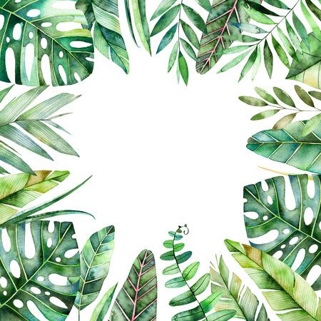 Bordure ornementale en forme d'aquarelle avec des feuilles tropicales colorées. Collecte de forêt tropicale.Perfect pour mariage, cadre, citations, motif, carte de voeux, logo, invitations, lettrage etc. Banque d'images - 75999330