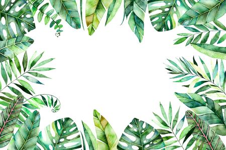 Bordure colorée en forme d'aquarelle avec des feuilles tropicales colorées. Collecte de forêt tropicale.Perfect pour mariage, cadre, citations, motif, carte de voeux, logo, invitations, lettrage etc. Banque d'images - 75998989